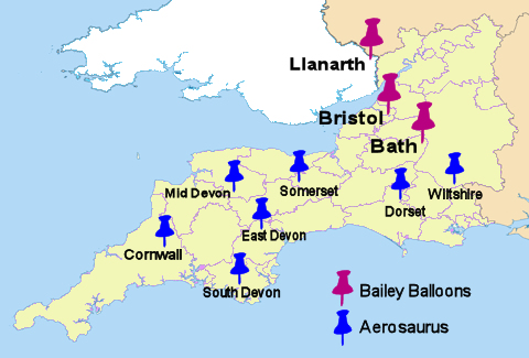map of the south west of england