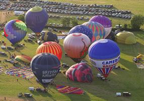 balloons gathered at Tiverton balloon festival